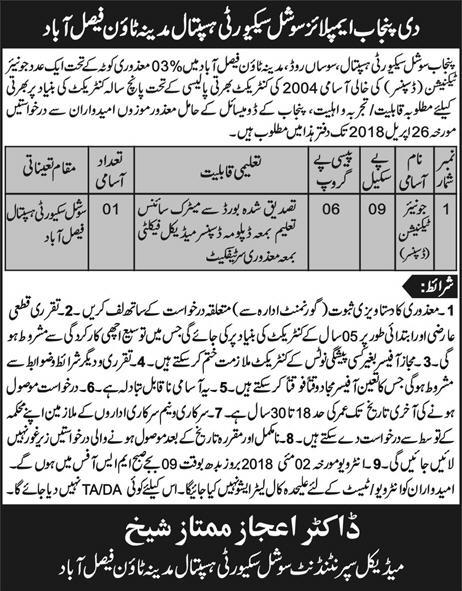 Punjab Social Security Hospital Junior Technicians Jobs