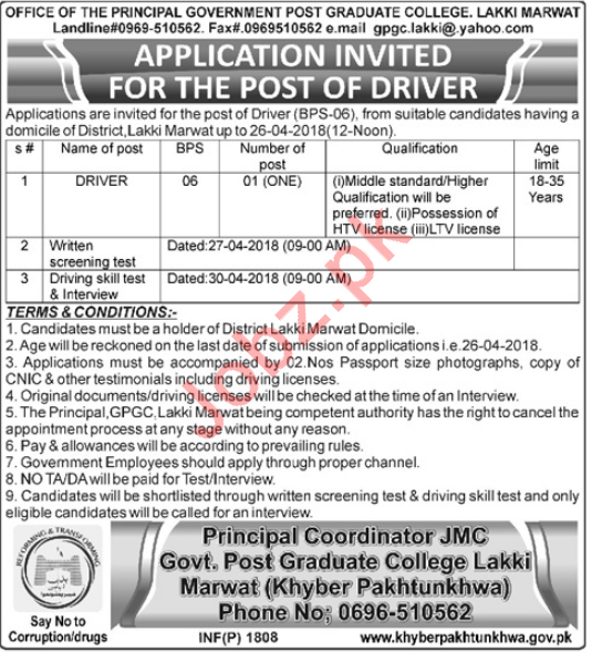 Govt Post Graduate College GPGC Lakki Marwat Jobs 2018