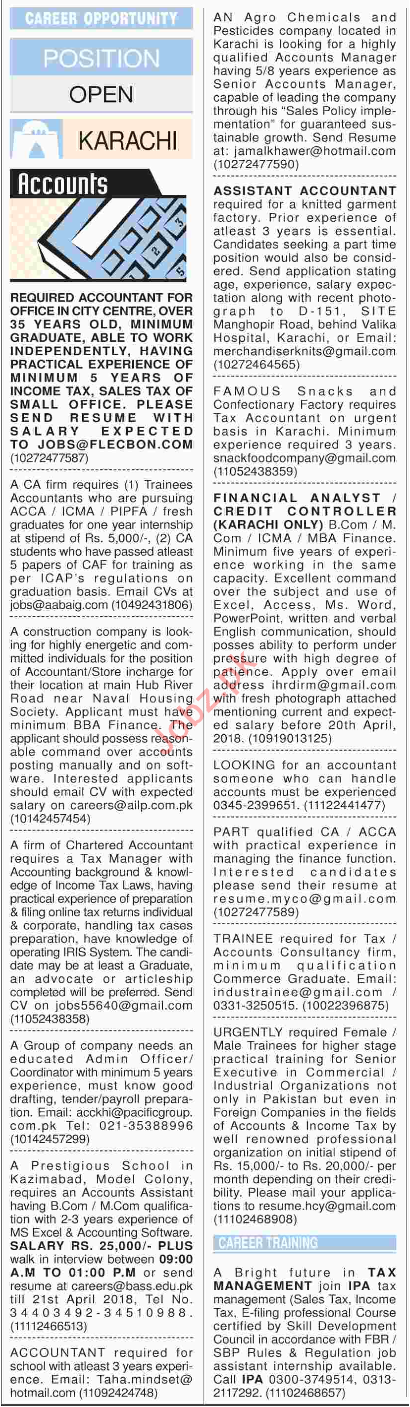 Daily Dawn Newspaper Classified Jobs 2018 for Accountant
