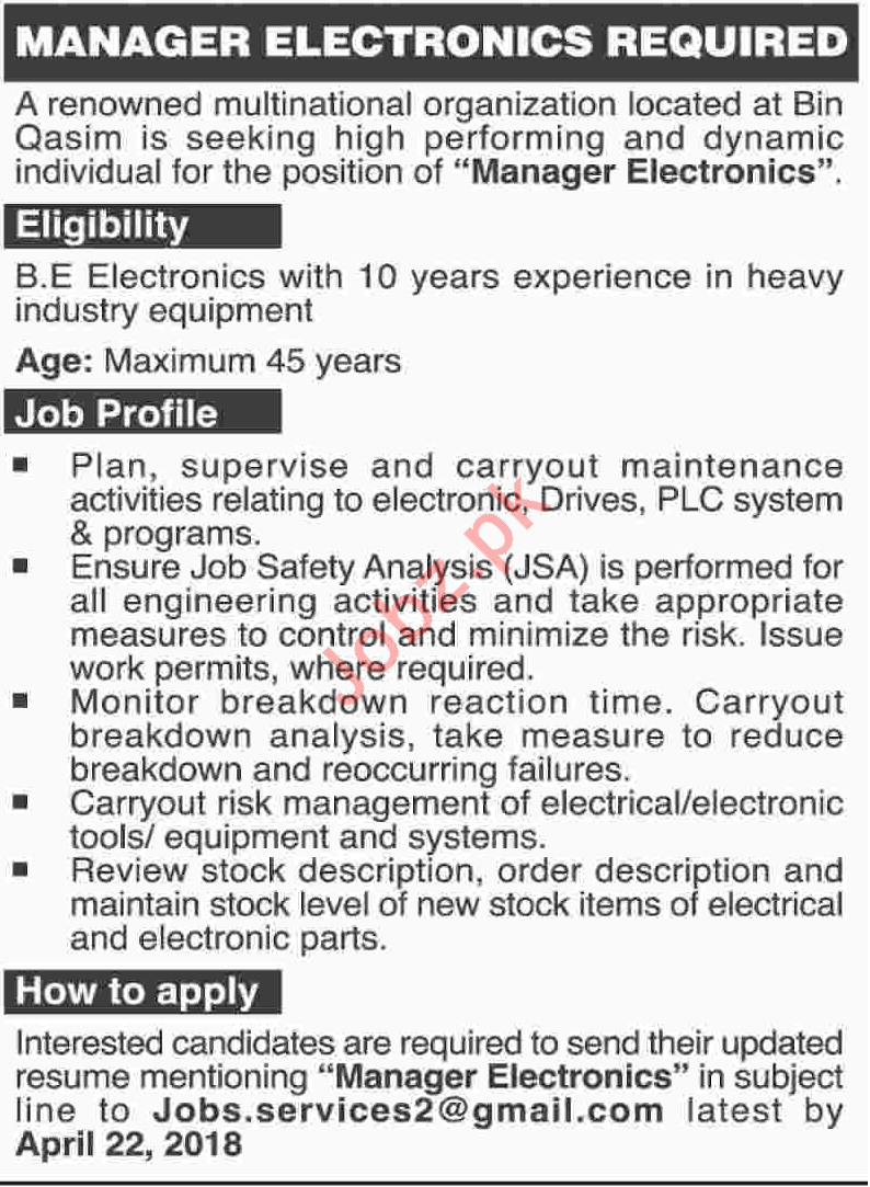 Manager Electronics Required