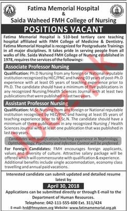 Saida Waheed FMH College of Nursing Jobs 2018