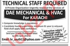 Technical Staff - DAE Mechanical & HVAC for Karachi
