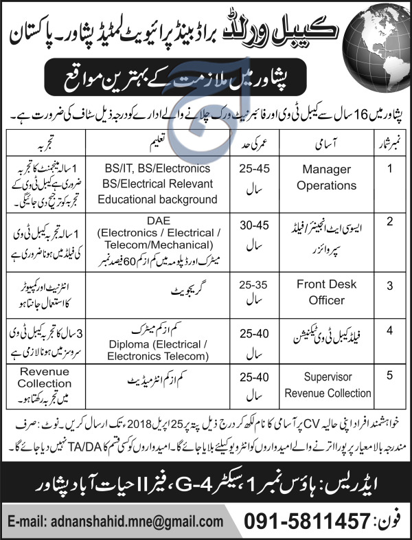Cable World Brand Pvt Limited Manager Operations Jobs