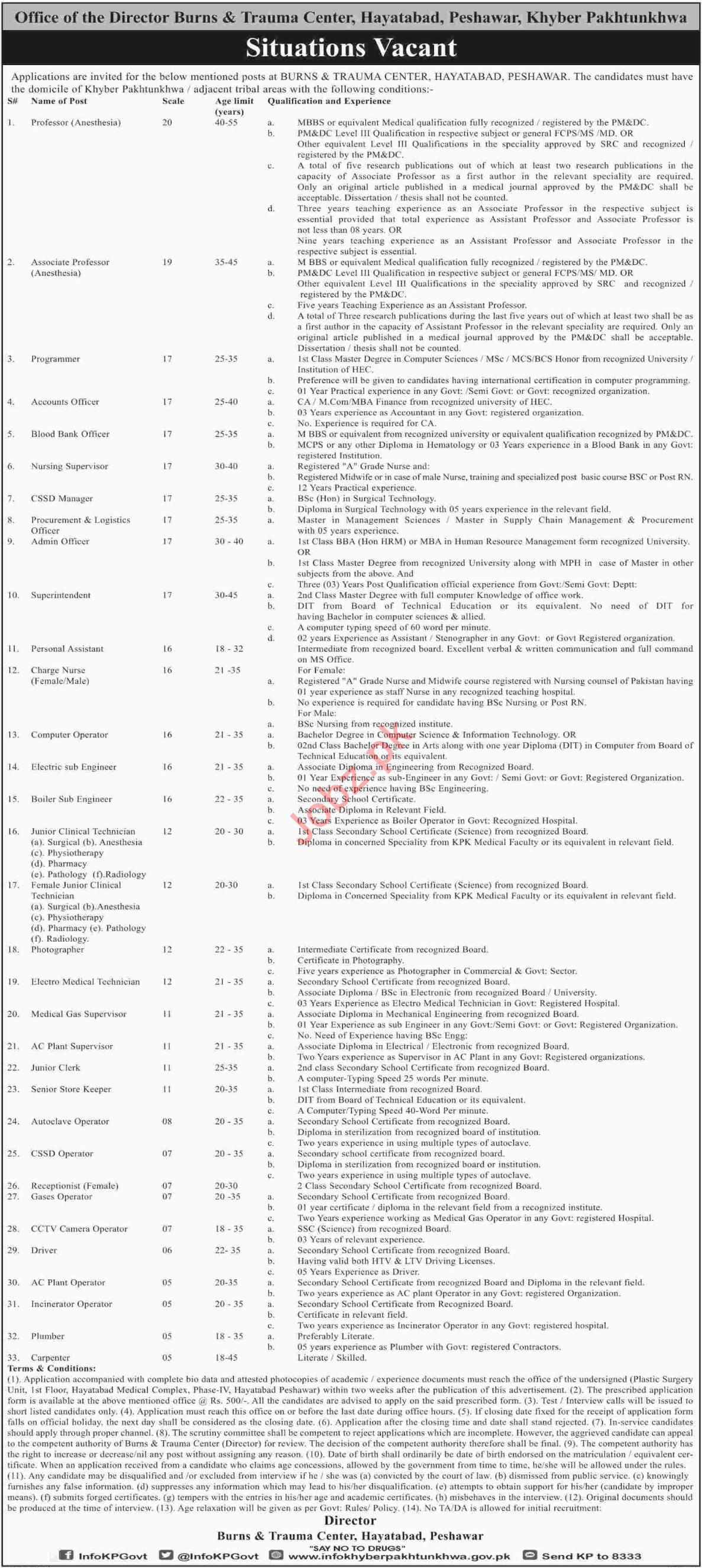 Burns & Trauma Center Hayatabad Peshawar Jobs 2018
