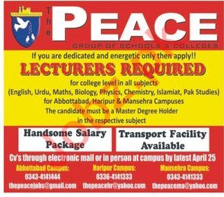 Peace Group of Schools & Colleges Abbottabad Jobs 2018