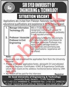 Sir Syed University of Engineering & Technology SSUET Jobs