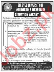 Sir Syed University SSUET Karachi Jobs 2018 for Professors