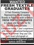 Textile Graduates Jobs Opportunity in Lahore