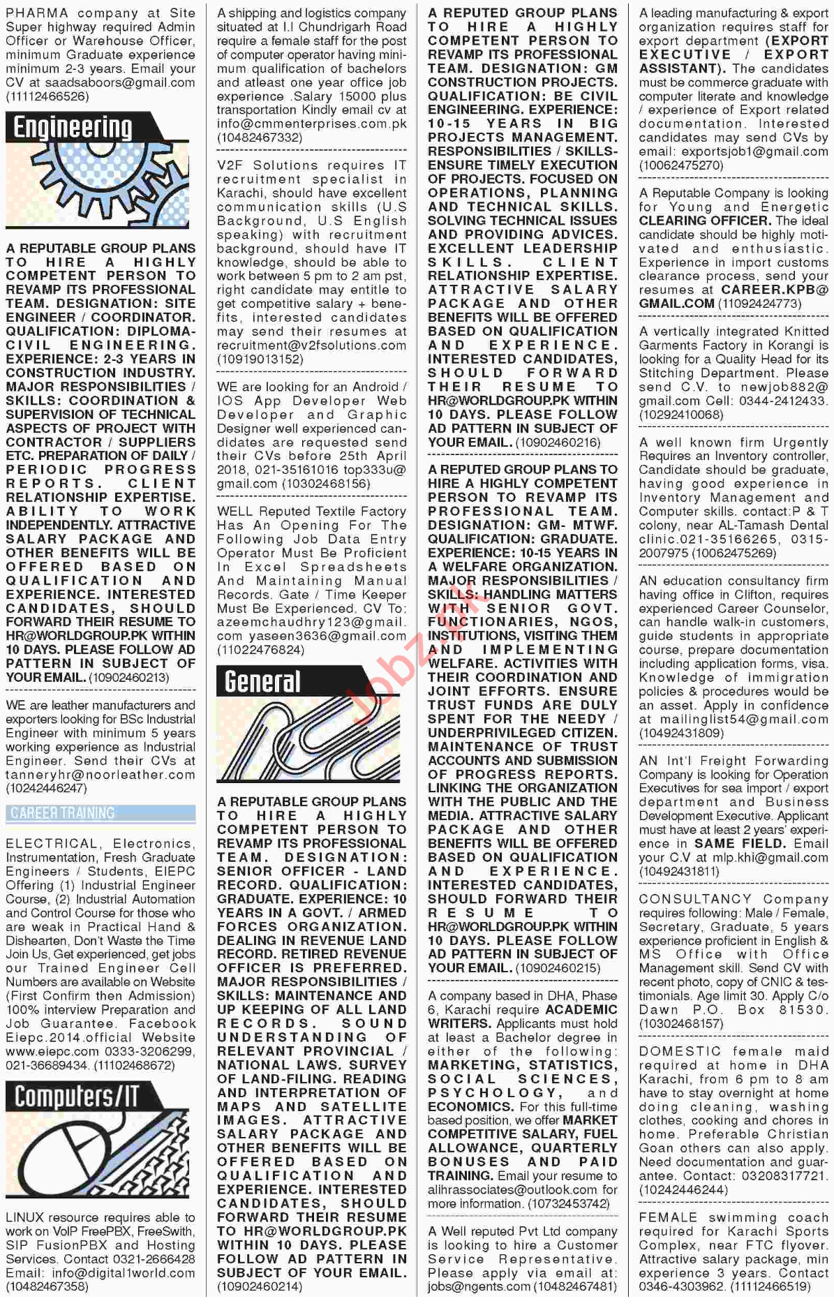 Dawn News Classified Jobs 2018 in Karachi