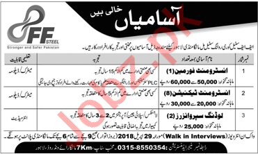 FF Steel Lahore Jobs 2018 for Foreman & Technicians