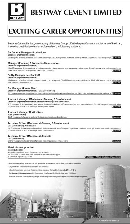Bestway Cement Limited Management Jobs