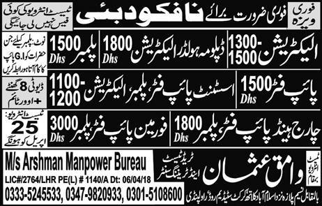 Electricians, Diploma Holders, Plumbers Job Opportunity