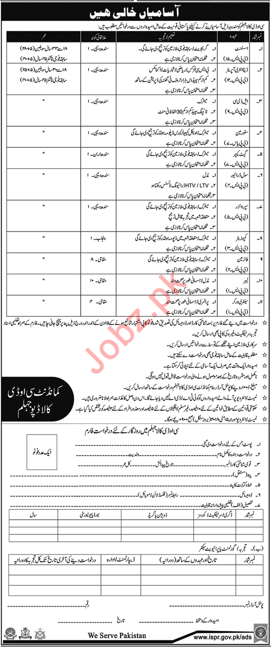 Pak Army Central Ordinance Depot COD Kala Jhelum Jobs 2018