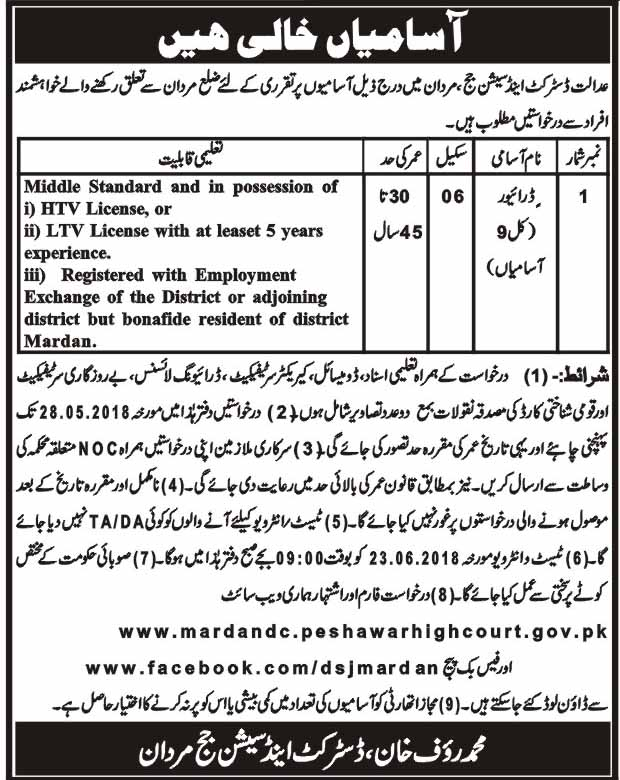 District and Session Judge Mardan HTV / LTV Drivers Jobs