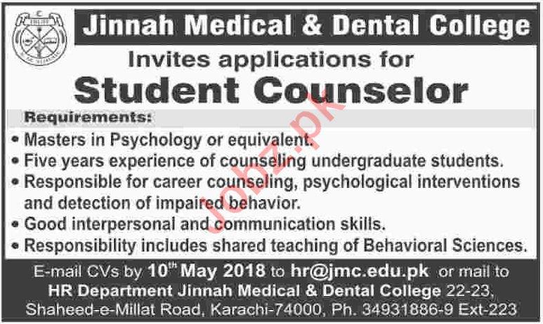 Jinnah Medical & Dental College JMC Karachi Jobs 2018
