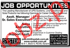 Assistant Manager  / Senior Sales Executives Job in Systek