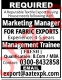 Marketing Manager & Management Trainee Jobs 2018