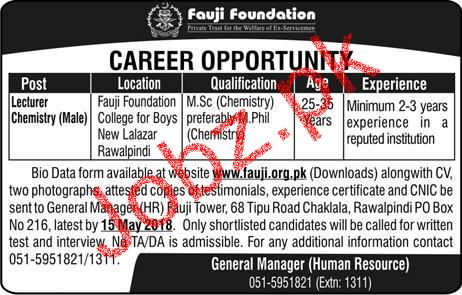 Fauji Foundation male Lecturers Chemistry Jobs