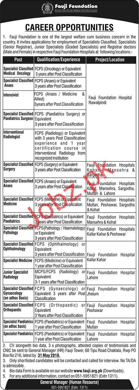 Fauji Foundation  Specialist Doctors Jobs