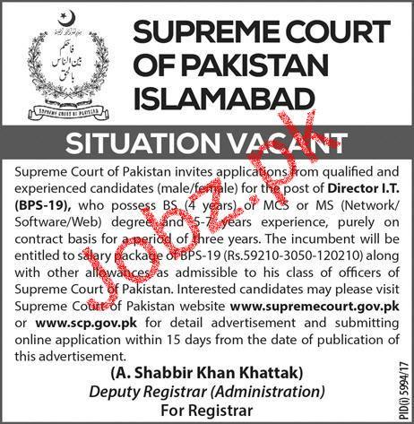 Supreme Court of Pakistan Islamabad Director IT Jobs