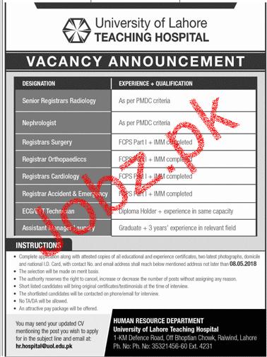 University of Lahore Teaching Hospital Jobs