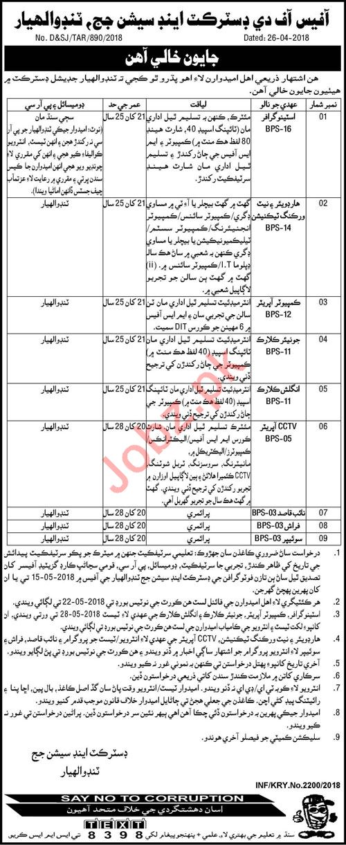 District & Session Judge Tando Allahyar Jobs 2018