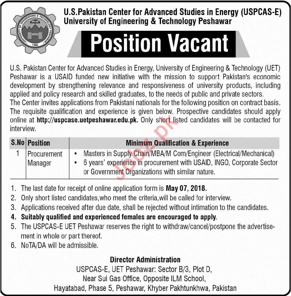 USPCAS-E UET Job 2018 Procurement Manager In Peshawar KPK