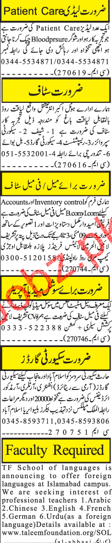 Lady Doctors, Supervisors, Receptionists Job Opportunity