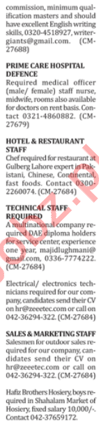 Male & Female Staff Jobs 2018 in Lahore