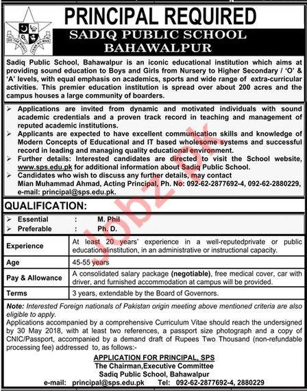 Principal required for Sadiq Public School SPS