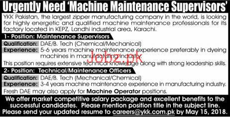 Technical Maintenance Officer Job in  YKK Pakistan Private