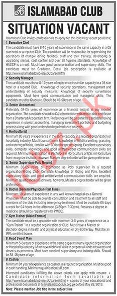 Islamabad Club Jobs 2018 for Executive Chief & Accountant