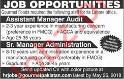 Gourmet Pakistan Jobs 2018 Manager Audit & Administration