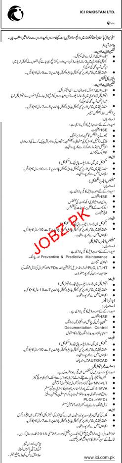 ICI Pakistan Limited Plant Operators, Electricians Tech Job