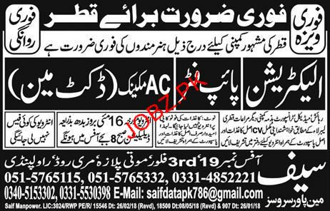 Electricians, Pipe Fitters and AC Mechanics Job Opportunity