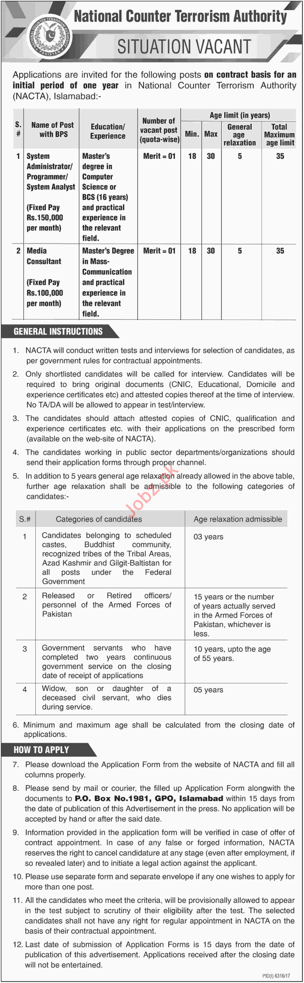 National Counter Terrorism Authority NACTA Islamabad Jobs