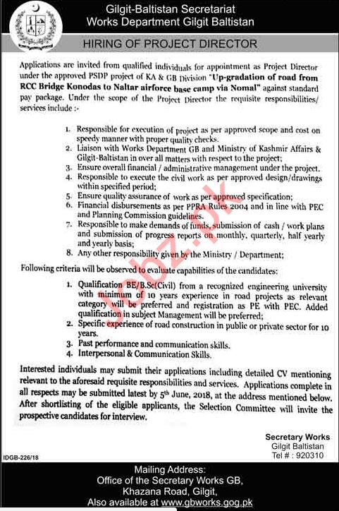 Public Works Department Gilgit Baltistan Jobs 2018