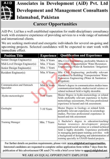 Associates in Development AiD Islamabad Jobs 2018