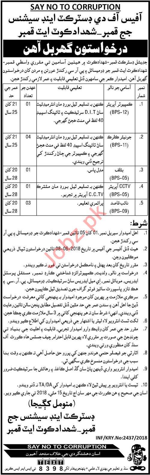 District & Session Court Kamber Shahdadkot Jobs 2018