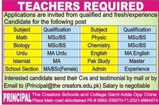 The Creators Schools and College Teachers Jobs