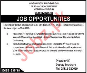 Works Department Gilgit Balistan GB Jobs 2018
