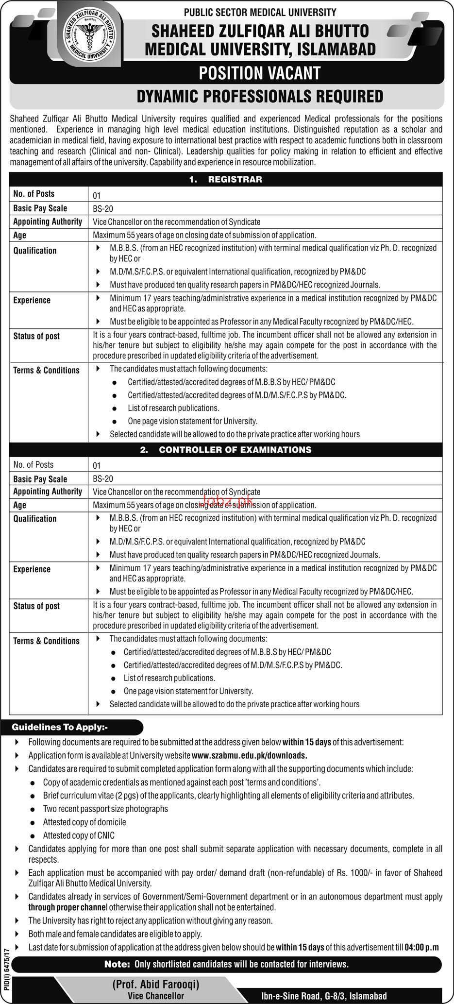 Shaheed Zulfikar Ali Bhutto Institute of Science  Jobs
