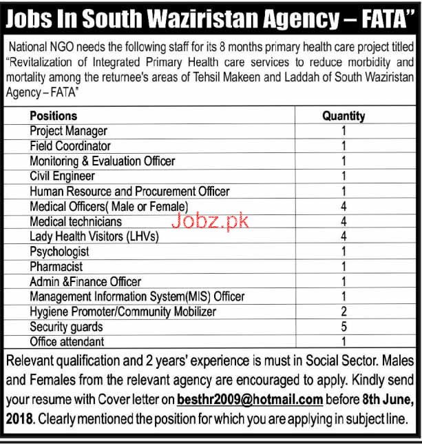 Project Manager, Field Coordinators Job in National NGO