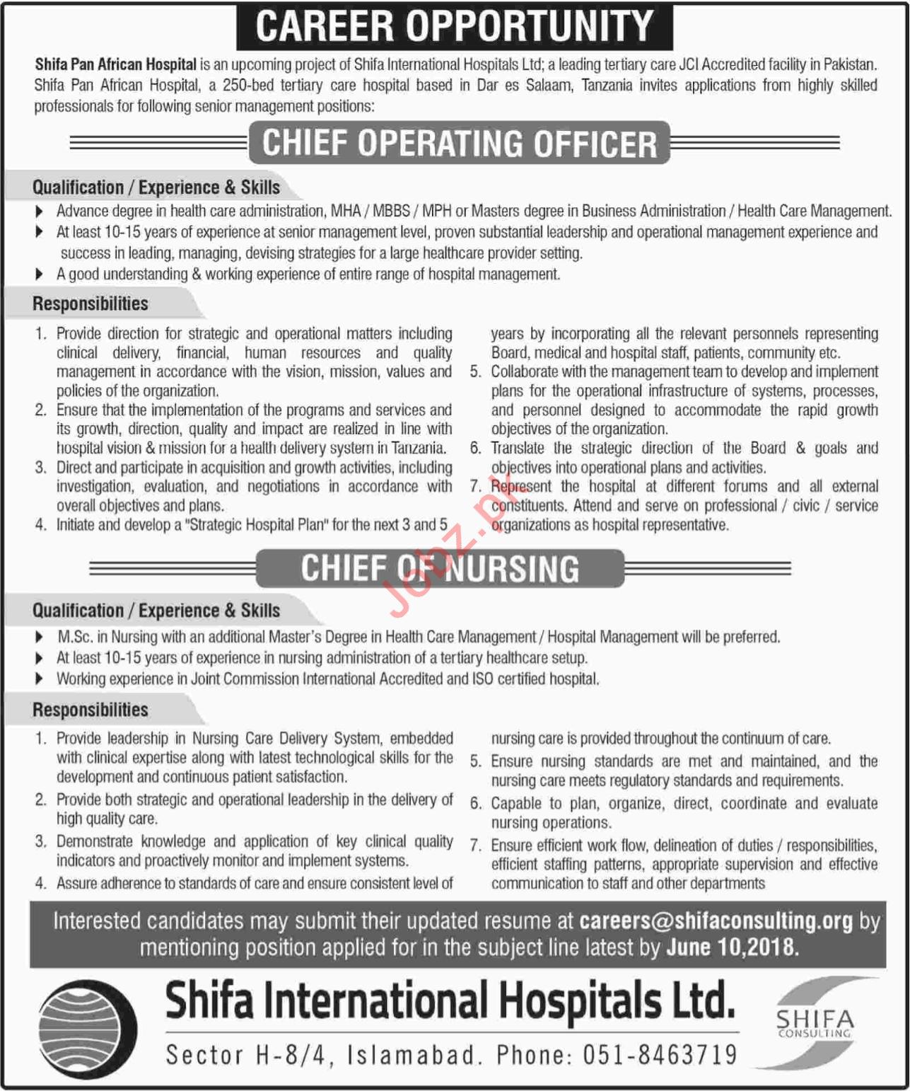 Shifa Pan African Hospital SPAH Jobs