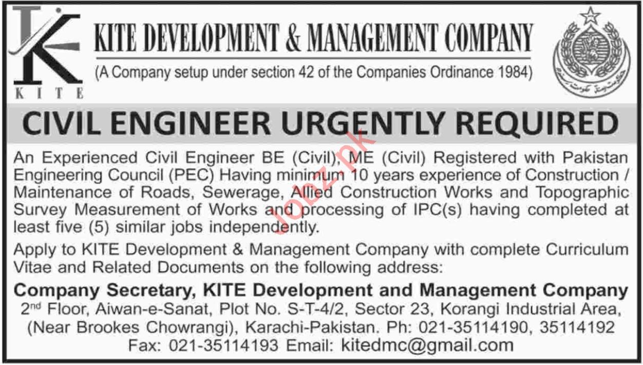 Kite Development & Management Company Karachi Jobs 2018