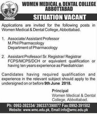 Women Medical and Dental College WM & DC  Jobs Open