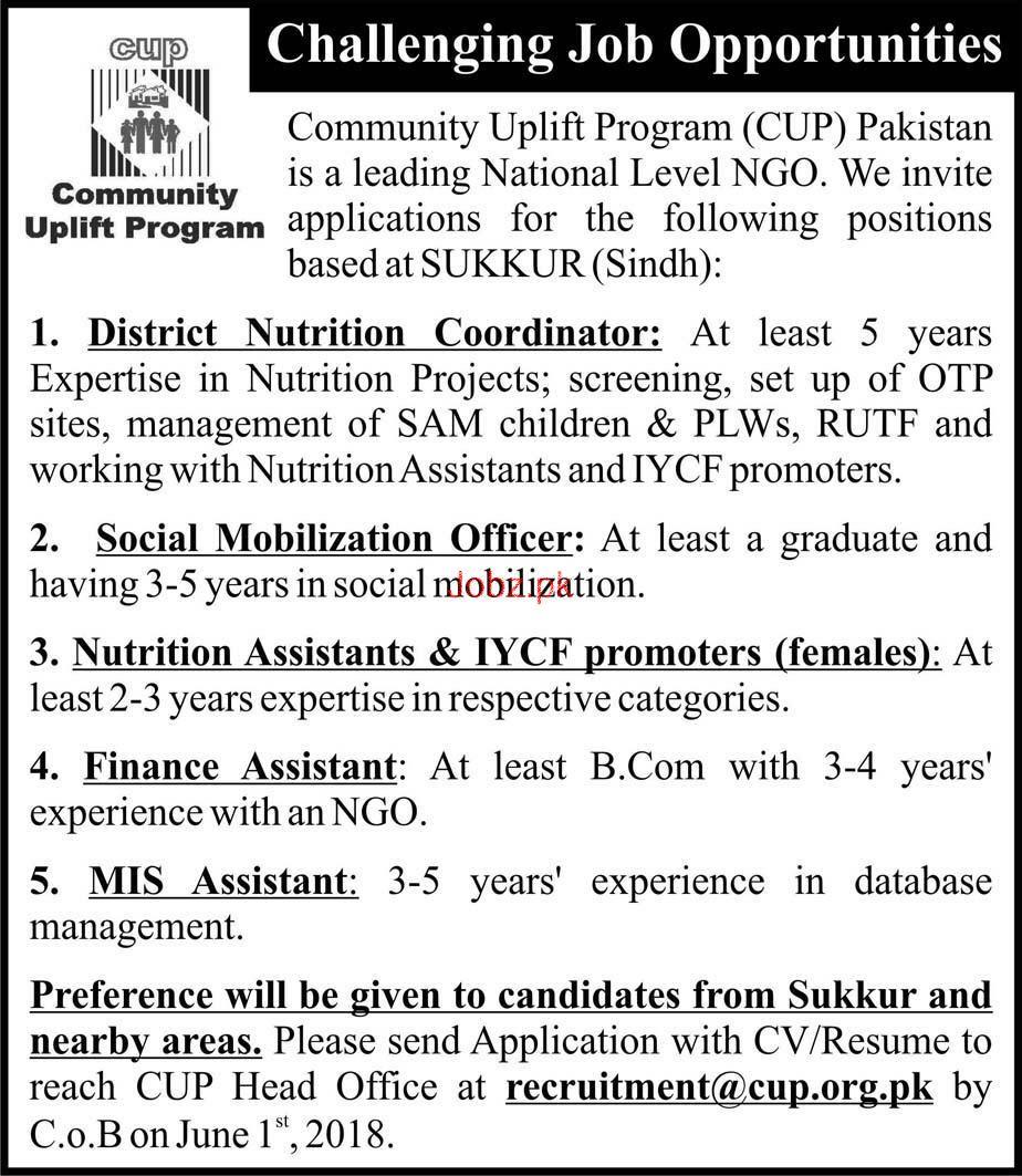 Community Uplift Program CUP Pakistan Jobs