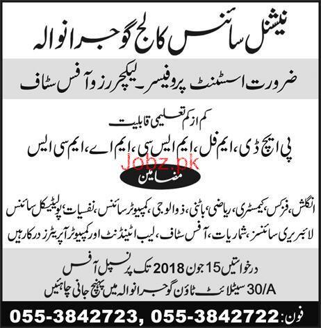 National Science College Gujranwala Teaching Jobs