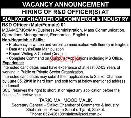 Sialkot Chamber of Commerce & Industry Jobs