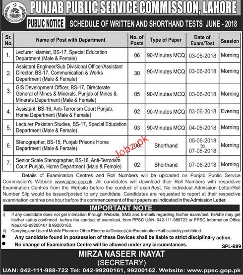 Punjab Public Service Commission Test Schedule June 2018
